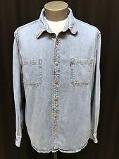 mens blue LEVIS denim shirt button front classic two pocket XXL 2XL