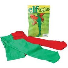 Pair of Red and Green Elf Tights Adult Elf Costume Accessory