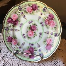 Moriage Nippon Roses Plate Unmarked Early 7 1/4 Inch Roses