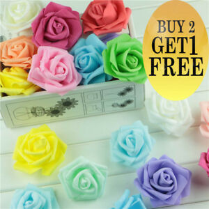 6cm Foam Roses pack of 100/50 Colorfast Artificial Flowers Wedding Valentines Da