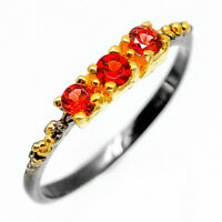 Silberring Natural Gemstone Garnet 925 Sterling Silver Ring / RVS256