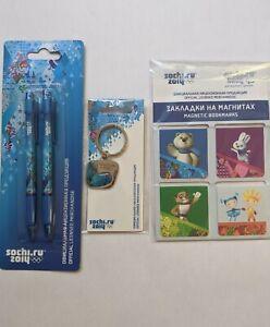 Sochi Russia 2014 Olympics pens, keychain & mascot magnet set new unopened mint