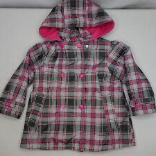 London Fog Girls Size S/4 Lightweight Plaid Pink Rain Coat Jacket EUC AA18