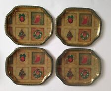 Vintage Xmas Tree Wreath Stocking Ornament Metal Tin Hospitality Trays Barnes 4