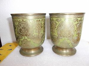 """Antique Pair of Brass Goblets / Cups, Green Enamel, marked H.V. India, 4 3/8""""H"""