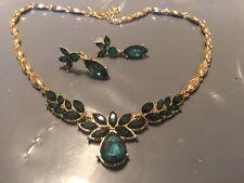 Pendientes de oro y collar conjunto con piedras verdes hecho a mano nuevo para 2016