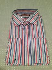 Brand New THOMAS PINK MENS SLIM FIT DRESS SHIRT Braeburn Stripe Blue French Cuff