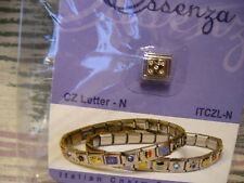 ESSENZA CZ LETTER ITALIAN CHARM - LINKS TOGETHER MAKES A BRACELET - LETTER - N