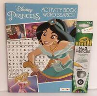 New Disney Princess Activity Word Search Book & Multi Colored Eraser Pencil Set