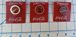 Vintage 1997 Coca Cola Lapel Pins In Original Packaging Lot of 3