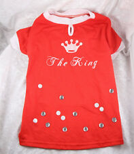 no label shirt red The King  pattern  worn small dog