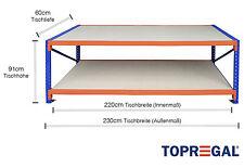 Packtisch Werkbank LR mit Holzböden 230cm breit, 91cm hoch, 60cm tief, 2 Ebenen