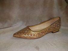 """Wonder """"Lilly"""" Cork & Gold Pointed Toe Pumps Shoes Slip On Women's 9M New"""
