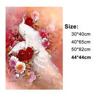 DIY White Peacock Flower 5D Diamond Embroidery Painting Landscapes Cross Stitch