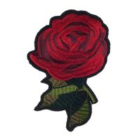 Red One Rose Flower (Iron On) Embroidery Applique Patch Sew Iron Badge