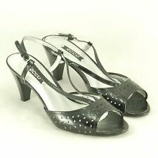 "Ecco Black Leather Strappy Heels Women's EUR 38 High 3"" Mid Heel Buckle Shoes"