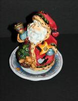 "Christmas Spirit Santa Decoration, 2 Piece 6"" Porcelain Votive, Candle Holder"