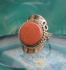 Silver Goldstone Brown Glitter Inka Maya Style 07 ~ Ring Alpaca Nickel