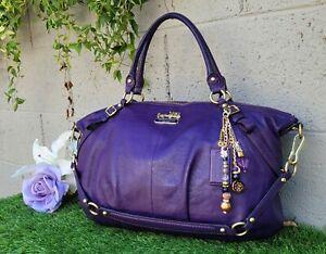Coach purple Madison LRG leather sophia shoulder satchel bag handbag purse