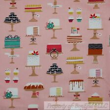 BonEful Fabric Cotton Quilt Pink Brown Chocolate Cup*Cake Flower Cookie L SCRAP