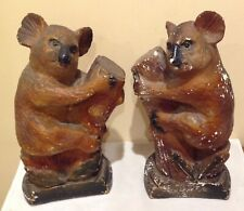 vintage Australiana Chalk Art Koala Bears pair