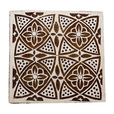 Decorative Handcarved Wooden Textile Brown Floral Stamp Wood Printing Block Art