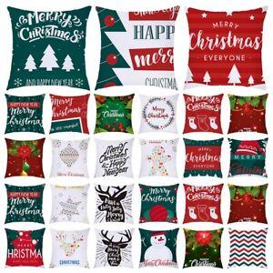 18''Merry Christmas Pillow Case Sofa Car Waist Throw Cushion Cover Home Decor