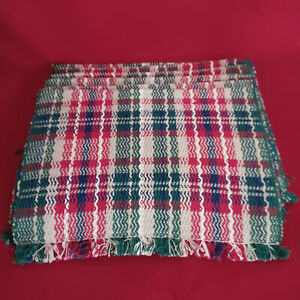 PIER 1  PLACEMATS COTTON WOVEN PLAID COLORED Red Green Blue White Tan SET OF 6