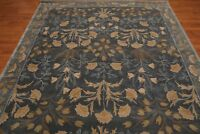 Antique Hand Made Agra Blue Floral Parsian Traditional Oriental Wool Area Rug