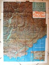 Affiche carte Paris Lyon méditerranée  Alpes & Cote d'Azur original 1907  PLM