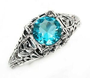 1CT Aquamarine 925 Solid Sterling Silver Nouveau Style Ring Jewelry Sz 6, FL1
