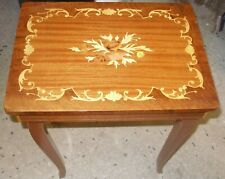 Italian Wooden Inlaid Music Box Table Jewelry Storage Box Divided Interior