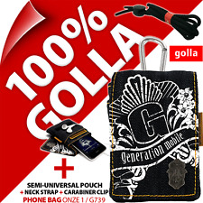 New Golla Blue Denim Phone Case Cover Pouch Bag + Neck Strap for iPhone 3GS 4 4S
