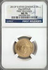 2013-P 5-STAR GENERALS MACARTHUR GOLD $5 NGC MS 70 FIRST RELEASES OGP/COA