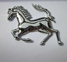 3D Cool Metal Silver Ferrari Style Running Horse Sticker Stainless Badge Emblem