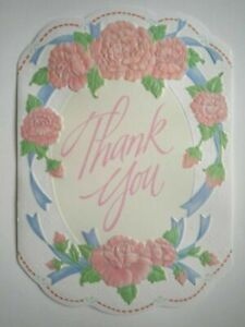 Amscan ~ PINK FLOWERS WITH BLUE RIBBONS THANK YOU GREETING CARD + ENVELOPE