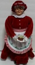 "Grandma Doll Holiday Velvet Velour Red Dress Handmade Polymer Clay Cloth 18""Tall"