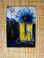 ACEO original pastel painting outsider folk art brut #010275 abstract surreal
