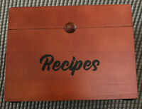 Wooden Recipe Box Organizer 100 Recipe Cards 4x6 NEW