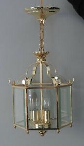 Three (3) Light Beveled Glass & Brass Finish Caged Lantern Pendant Chandelier