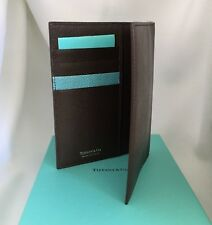 Tiffany & Co Men's Unisex Brown Leather Breast Pocket Passport Wallet NEW