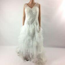 F16 Womens Wedding Dress Tulle Embellished Beaded Sequin Hi Low White Sleeveless