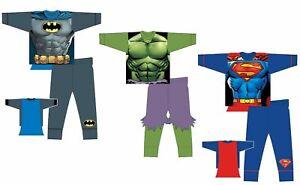 Boys Kids Character Novelty Pyjamas PJs Superhero Batman Hulk Superman Nightwear