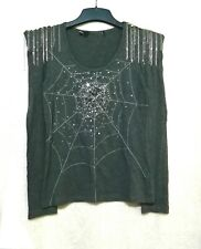 Love Moschino sequined web details cotton top