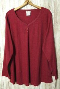 Dickies Lightweight Henley Shirt Women's 3X Comfortable Cotton Blend Brick Red