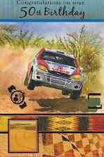 ON YOUR 50TH BIRTHDAY CARD.TOP QUALITY ,RALLY,RACING CAR,LOVELY VERSE,MALE(M1).