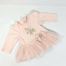 Little Me Baby Girl Top TuTu Trim Flower Detail Pink Gold Baby Girl Size 6 Month