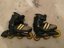 Youth Rollerblades with Three Wheels (Black & Brown in Color): Si