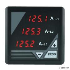 TRIPLE OF 3 PHASE AC CURRENT DIGITAL RED LED DISPLAY PANEL METER