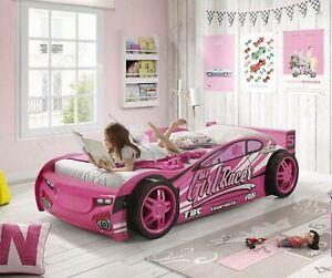 NEW SINGLE 3FT KIDS PINK CAR BED  + MATTRESS GIRL'S CHILDREN'S NOVELTY